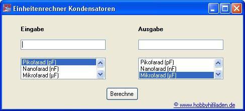 Einheitenrechner Kondensatoren
